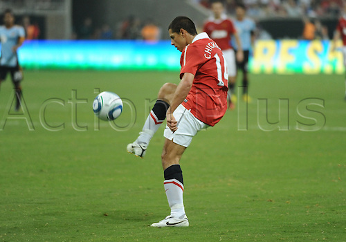 28 July 2010: Javier Hernandez (Chicharito) kicks in a goal to score for Manchester United in the second period of the MLS All-Star game. Manchester United defeated the MLS All-Stars 5-2 at Reliant Stadium in Houston, TX