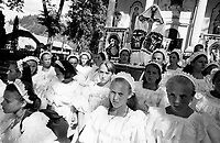 ROMANIA / Maramures / Moisei / August 2003..Procession of the Virgins at the Moisei Monastery, scene of a major pilgrimage each year on August 15, the Feast of the Assumption...© Davin Ellicson / Anzenberger