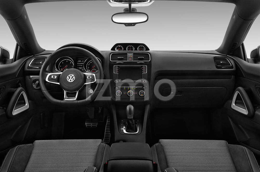 Stock photo of straight dashboard view of a 2017 Volkswagen Scirocco R Line 5 Door Hatchback