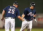 Reno Aces Manager Phil Nevin congratulates Garrett Weber after he homered against the Omaha Storm Chasers in a 5-2 victory on Wednesday, Aug. 27, 2014, in Reno, Nev.<br /> Photo by Cathleen Allison