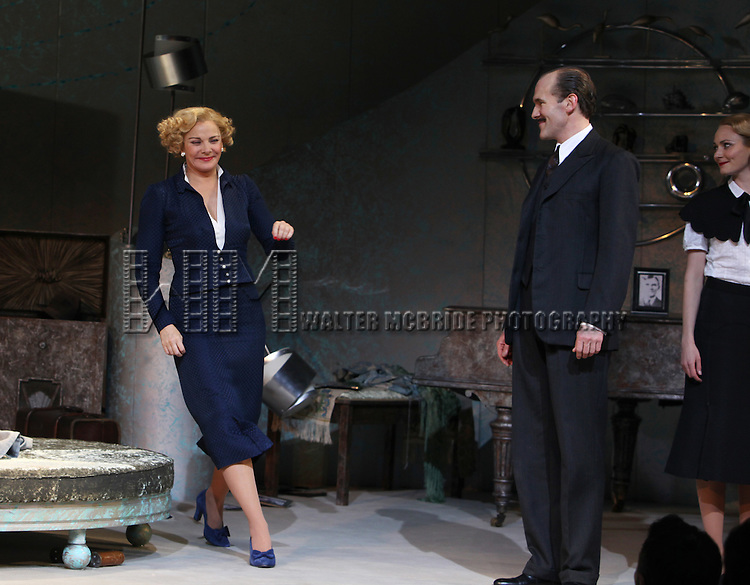 Kim Cattrall & Simon Paisley Day.during the Opening Night Performance Curtain Call for 'Private Lives' at the Music Box Theatre in New York City on 11/17/2011.