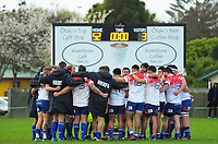 The Horowhenua Kapiti team huddle after the Heartland championship rugby match between Horowhenua Kapiti and East Coast at Otaki Domain in Otaki, New Zealand on Saturday, 23 September 2017. Photo: Dave Lintott / lintottphoto.co.nz