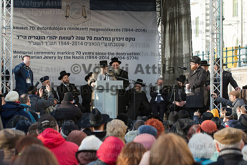 Menachem Mendel Taub the Transylvanian born Kaliver Rebbe talks during a remembrance for the participants of the Rabbinical Centre of Europe's conference on the 70th anniversary of the Holocaust in Budapest, Hungary on March 24, 2014. ATTILA VOLGYI