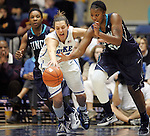 20 December 2011: Duke's Haley Peters (33) and UNCW's Kameshia Garrett (40). The Duke University Blue Devils defeated the University of North Carolina Wilmington Seahawks 107-45 at Cameron Indoor Stadium in Durham, North Carolina in an NCAA Division I Women's basketball game.