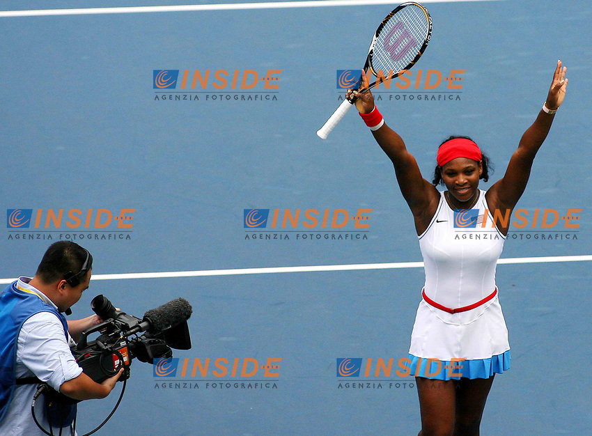 Aug 11, 2008, Beijing, China, Serena Williams of the United States 2:0 Olga Govortsova of Belarus in a women's singles first round match during the Beijing Olympic Games.