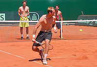 "Austria, Kitzbuhel, Juli 15, 2015, Tennis, Davis Cup, Training Dutch team play ""touch"" on the end of their practise ltr: Robin Haase, Thiemo de Bakker, Jesse Huta Galung <br /> Photo: Tennisimages/Henk Koster"