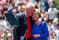 Hillary and Bill Clinton embraces each other after her speech Speaks to the crowd as she officially kicked off her 2016 campaign in New York. 06/13/2015. Kena Betancur/VIEWpress