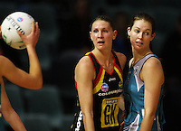 Magic goalkeep Casey Williams marks Kate Beveridge during the ANZ Netball Championship match between the Waikato Bay of Plenty Magic and Adelaide Thunderbirds, Mystery Creek Events Centre, Hamilton, New Zealand on Sunday 19 July 2009. Photo: Dave Lintott / lintottphoto.co.nz
