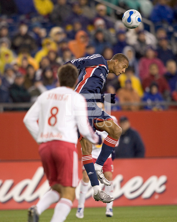 New England Revolution midfielder Khano Smith (18). The New England Revolution defeated the New York Red Bulls 1-0 (1-0 aggregate score) in the second game of the MLS Eastern Conference Semifinal Series at Gillette Stadium in Foxborough, MA on November 3, 2007.