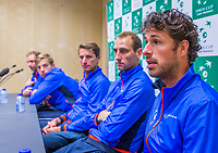 The Hague, The Netherlands, September 12, 2017,  Sportcampus , Davis Cup Netherlands - Chech Republic, Pre Draw press conference, Dutch team, ltr: Matwe Middelkoop, Tallon Griekspoor, captain Paul Haarhuis, Thiemo de Bakker and Robin Haase<br /> Photo: Tennisimages/Henk Koster