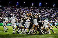 Ross Batty celebrates as Bath Rugby are awarded a penalty try after a strong scrum. European Rugby Champions Cup match, between Bath Rugby and Leinster Rugby on November 21, 2015 at the Recreation Ground in Bath, England. Photo by: Rogan Thomson / JMP for Onside Images