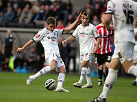 Pictured: Joe Allen of Swansea City in action<br />