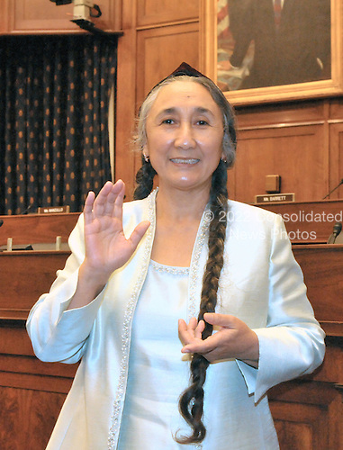 """Washington, DC - June 10, 2009 -- Mrs. Rebiya Kadeer, President, World Uyghur Congress, poses for a photo after giving testimony before the United States House Committee on Foreign Affairs Subcommittee on International Organizations, Human Rights and Oversight on """"The Uyghurs: A History of Persecution"""" in Washington, D.C. on Wednesday, June 10, 2009..Credit: Ron Sachs / CNP..(RESTRICTION: NO New York or New Jersey Newspapers or newspapers within a 75 mile radius of New York City)"""
