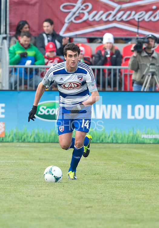 06 April 2013: FC Dallas defender George John #14 in action during an MLS game between FC Dallas and Toronto FC at BMO Field in Toronto, Ontario Canada..The game ended in a 2-2 draw..
