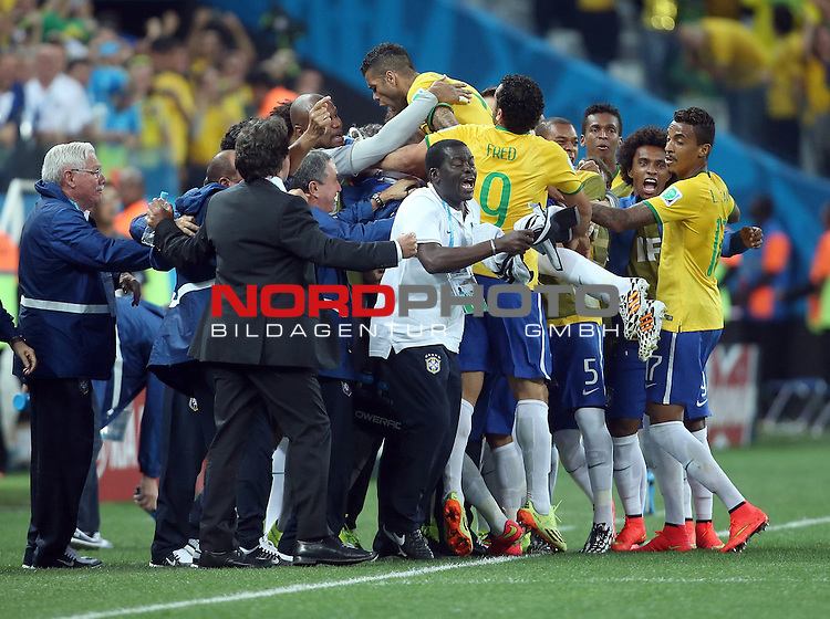 2014 Fifa World Cup opening game from group A against Brazil and Croatia.<br /> Brazilian players celebrates a goal durch Neymar<br /> <br /> Foto &copy;  nph / PIXSELL / Sajin Strukic