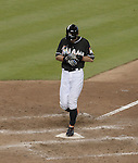 Ichiro Suzuki (Marlins), APRIL 25, 2015 - MLB : Ichiro Suzuki of the Miami Marlins scores his 1968th run and sets the record for the most runs scored by a Japanese born player in the eighth inning during the Major League Baseball game against the Washington Nationals at Marlins Park in Miami, Florida, United States. (Photo by AFLO)