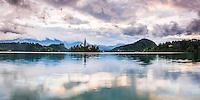 Lake Bled sunrise, Slovenia. Lake Bled Church on the Island and Bled Castle, Gorenjska, Slovenia, Europe