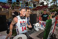 LAS VEGAS, NV - October 7:  DJ Pauly D and DJ Pauly D Look A-like Costume pictured as DJ Pauly D performs at REHAB pool party at Hard Rock Hotel & Casino on October 7, 2012 in Las Vegas, Nevada. © Kabik/ Starlitepics