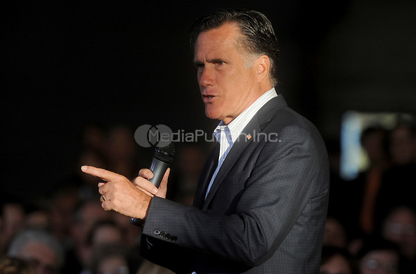 Mitt Romney attending a campaign rally at RC Fabricators in Wilmington, Del. on April 10, 2012. Credit: Dennis Van Tine / MediaPunch