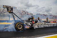 Mar 18, 2016; Gainesville, FL, USA; NHRA top fuel driver Dave Connolly during qualifying for the Gatornationals at Auto Plus Raceway at Gainesville. Mandatory Credit: Mark J. Rebilas-USA TODAY Sports