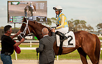 TAMPA, FL - February 10: Flameaway, #2, and Jose Lezcano are met by Mark Casse outside the winner's circle after taking the Sam F Davis Stakes (Grade III) at Tampa Bay Downs on February 10, 2018 in Tampa, FL. (Photo by Carson Dennis/Eclipse Sportswire/Getty Images.)