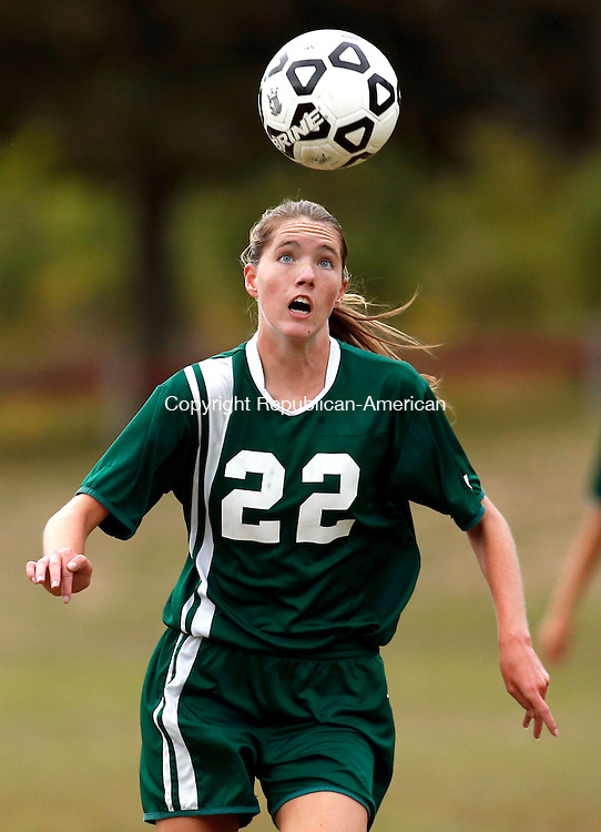Waterbury, CT- 30 September 2015-093015CM12- action man---   Holy Cross' Jordan Gilmore (22) looks to the control the ball during their NVL matchup against Sacred Heart at Bucks Hill Park in Waterbury on Wednesday.    Christopher Massa Republican-American