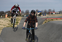 """Zach Springer, 34, of Bentonville (center) and Andrew Schacherbauer, 30, of Pea ridge (left) practice riding for the Red Bull Pump Track World Championship qualifier, Sunday, January 26, 2020 at the Runway Bike Park in Springdale. Check out nwaonline.com/200127Daily/ for today's photo gallery.<br /> (NWA Democrat-Gazette/Charlie Kaijo)<br /> <br /> The Redbull Pump Track World Championship qualifier is on April 25th at the Runway Bike Park. """"We found Red Bull was hosting the championship and they're coming back. This is the only place in the US that hosts that,"""" said Andrew Schacherbauer who's practicing to qualify. """"There was someone who podiumed to qualify for this year's championship. It's inspiring to know someone local get in."""""""
