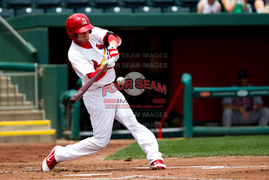 Ryan Jackson (23) of the Springfield Cardinals makes contact on a pitch during a game against the Arkansas Travelers on May 10, 2011 at Hammons Field in Springfield, Missouri.  Photo By David Welker/Four Seam Images.