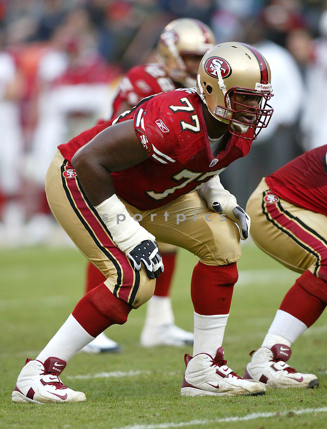 Kwame Harris, of the San Francisco 49ers, in action during thier game against the Arizona Cardinals  on December 4, 2005..Rob Holt / SportPics..Cardinals win 17-10