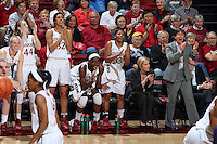 STANFORD, CA - February 27, 2014: Stanford Cardinal's bench during Stanford's 83-60 victory over Washington at Maples Pavilion.