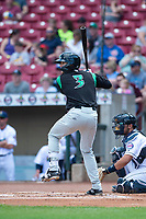 Dayton Dragons catcher Jay Schuyler (3) during a Midwest League game against the Cedar Rapids Kernels at Perfect Game Field on May 5, 2019 in Cedar Rapids, Iowa. Cedar Rapids defeated Dayton 4-0. (Zachary Lucy/Four Seam Images)