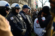 January 19, 2012  (Washington, DC)  OccupyDC protestors confront police in front of the Capitol Hilton hotel in Washington.  Protestors attempted to disrupt the U.S. Conference of Mayors meeting, and one man was arrested and a second was injured during a subsequent clash with police. (Photo by Don Baxter/Media Images International)