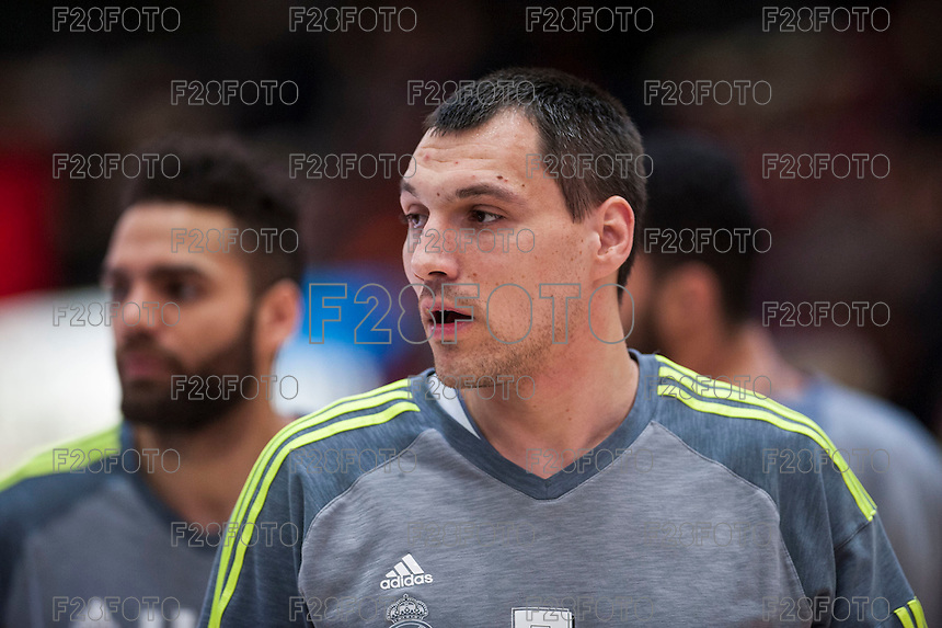 VALENCIA, SPAIN - FEBRUARY 28: Jonas Maciulis during ENDESA LEAGUE match between Valencia Basket Club and Real Madrid at Fonteta Stadium on   February, 2016 in Valencia, Spain