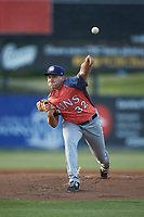 Hagerstown Suns starting pitcher Nick Raquet (32) delivers a pitch to the plate against the Kannapolis Intimidators at Kannapolis Intimidators Stadium on May 4, 2018 in Kannapolis, North Carolina.  The Intimidators defeated the Suns 11-0.  (Brian Westerholt/Four Seam Images)