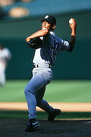 Mariano Rivera of the New York Yankees during a game against the Anaheim Angels circa 1999 at Angel Stadium in Anaheim, California. (Larry Goren/Four Seam Images)