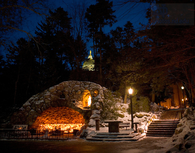 The Golden Dome and the Grotto at Christmas.<br /> <br /> Photo by Matt Cashore