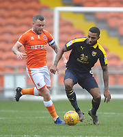 Oxford United's Jerome Sinclair under pressure from Blackpool's Jay Spearing<br /> <br /> Photographer Kevin Barnes/CameraSport<br /> <br /> The EFL Sky Bet League One - Blackpool v Oxford United - Saturday 23rd February 2019 - Bloomfield Road - Blackpool<br /> <br /> World Copyright © 2019 CameraSport. All rights reserved. 43 Linden Ave. Countesthorpe. Leicester. England. LE8 5PG - Tel: +44 (0) 116 277 4147 - admin@camerasport.com - www.camerasport.com