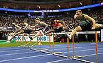 14.02.2020, Mercedes Benz Arena, Berlin, GER, ISTAF-Indoor 2020 Berlin, im Bild <br /> 60m Hurdles Men von rechts nach links :<br /> Michal Sierock (POL)<br /> Hassen Fofana (ITA)<br /> Gregor Traber (GER)<br /> Konstantinos Douvalidis (GRE) - Sieger<br /> Aurel Manga (FRA)<br /> Michal Parakhonka (BLR)<br /> <br /> <br />      <br /> Foto © nordphoto / Engler