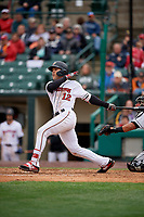 Rochester Red Wings Zander Wiel (12) at bat during an International League game against the Charlotte Knights on June 16, 2019 at Frontier Field in Rochester, New York.  Rochester defeated Charlotte 3-2 in the second game of a doubleheader.  (Mike Janes/Four Seam Images)