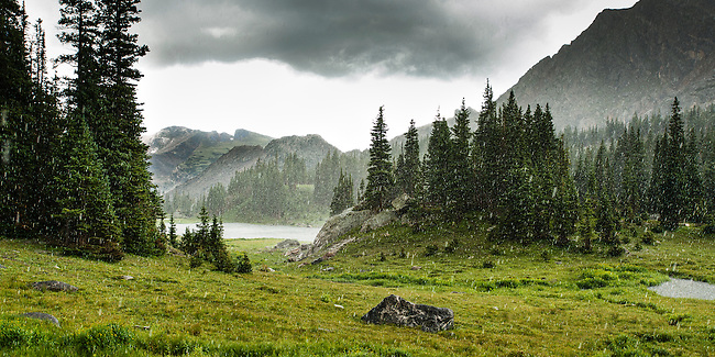 hailstorm at Haynach Lakes, late afternoon in summer,  Rocky Mountain National Park, Colorado, USA