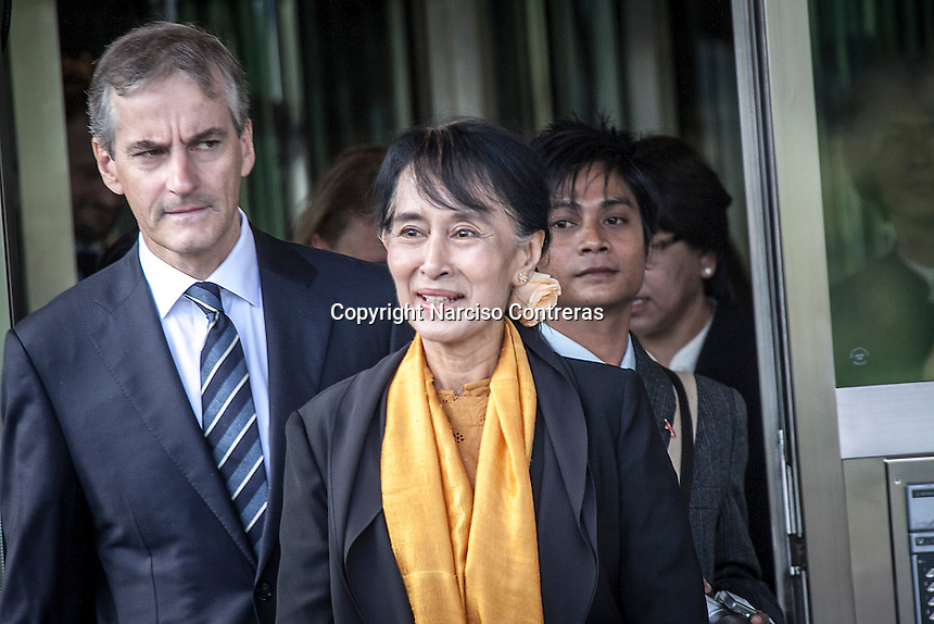 AUNG SAN SUU KYI, the Myanmar opposition leader, meets the norwegian Foreign Minister Jonas Gahr Støre at the Ministry of Foreign Affairs of Oslo during her third day visit in Norway. Suu Kyi holds her first official diplomatic tour in Europe after 15 years in house arrest in Myanmar. She visits Switzerland, Norway, Ireland, Britain and France from June 13 to June 29 2012.
