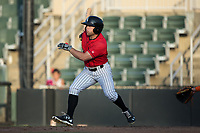 Tyler Sullivan (2) of the Kannapolis Intimidators follows through on his swing against the Delmarva Shorebirds at Kannapolis Intimidators Stadium on July 2, 2017 in Kannapolis, North Carolina.  The Shorebirds defeated the Intimidators 5-4.  (Brian Westerholt/Four Seam Images)