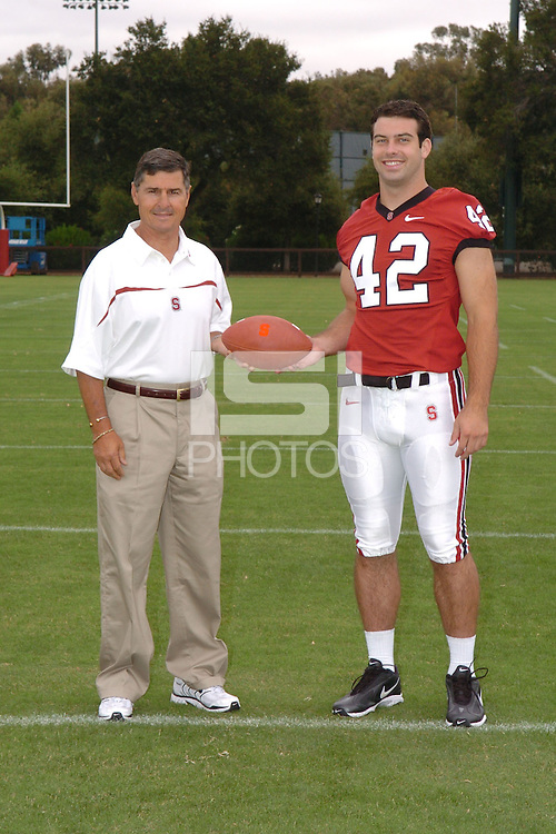7 August 2006: Stanford Cardinal head coach Walt Harris and Will Powers during Stanford Football's Team Photo Day at Stanford Football's Practice Field in Stanford, CA.