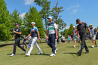 Jordan Spieth (USA), Wesley Bryan (USA), Jon Rahm (ESP), and Ryan Palmer (USA) make their way down 3 during Round 1 of the Zurich Classic of New Orl, TPC Louisiana, Avondale, Louisiana, USA. 4/26/2018.<br /> Picture: Golffile | Ken Murray<br /> <br /> <br /> All photo usage must carry mandatory copyright credit (&copy; Golffile | Ken Murray)