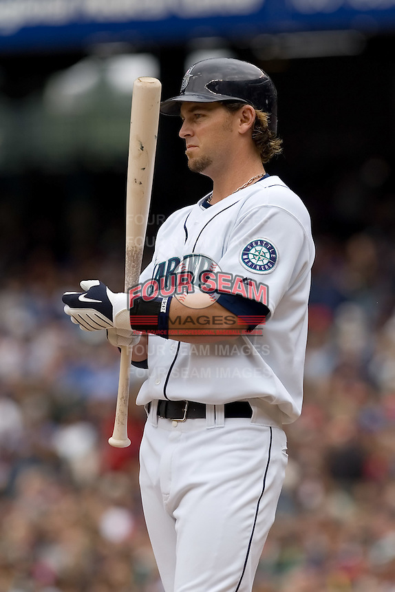 July 23, 2008: Seattle Mariners' Jeremy Reed steps into the batter's box during a game against the Boston Red Sox at Safeco Field in Seattle, Washington.