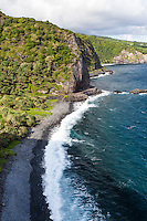 A pebble beach shoreline along the Hana Hwy. on the Kipahulu coast of south Maui