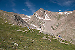 hiking, (MR), hike, alpine, tundra, Rowe Peak, high elevation, recreation, outdoors, activity, August, morning, summer, landscape, Rocky Mountain National Park, Colorado, USA