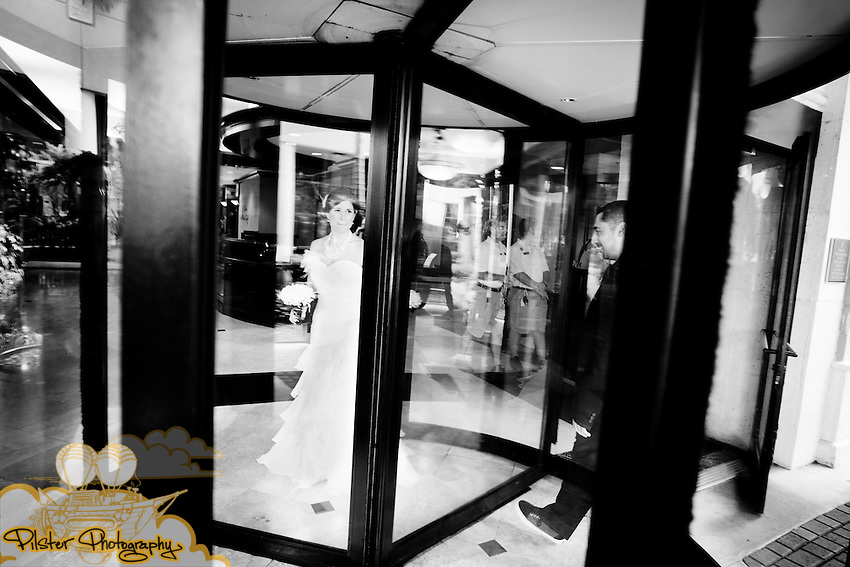Amanda Adler and Derrick Paladino during their wedding on Sunday, September 4, 2011, at Ceviche Tapas Bar and Restaurant in Orlando, Florida. They got ready at the Embassy Suites. The entire wedding had a Rock n' Roll theme. (Chad Pilster for Pilster Photography http://www.PilsterPhotography.net)