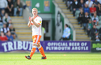 Blackpool's Mark Cullen applauds the fans as he leaves the pitch<br /> <br /> Photographer Kevin Barnes/CameraSport<br /> <br /> The EFL Sky Bet League One - Plymouth Argyle v Blackpool - Saturday 15th September 2018 - Home Park - Plymouth<br /> <br /> World Copyright &copy; 2018 CameraSport. All rights reserved. 43 Linden Ave. Countesthorpe. Leicester. England. LE8 5PG - Tel: +44 (0) 116 277 4147 - admin@camerasport.com - www.camerasport.com