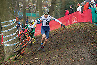 Picture by Allan McKenzie/SWpix.com - 10/12/17 - Cycling - HSBC UK National Cyclo-Cross Championships - Round 5, Peel Park - Bradford, England - Emile Alexander takes part in the men's U16 race.